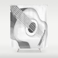guitar Shower Curtains featuring Guitar by Sally Elizabeth