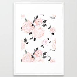 Vintage Blush Floral - BW Framed Art Print