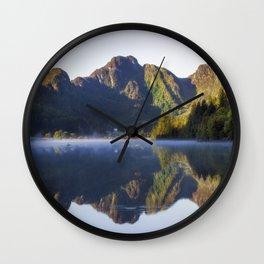 Misty Dawn Lake Wall Clock
