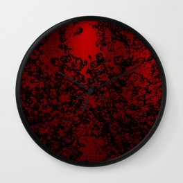 Red and black abstract decorative floral arabesque motif with metallic look Wall Clock