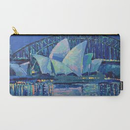 Sydney Opera House at Night - contemporary palette knife city landscape by Adriana Dziuba Carry-All Pouch