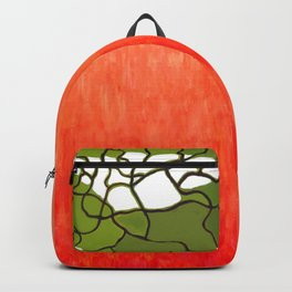 Green Vase with Red Background Backpack