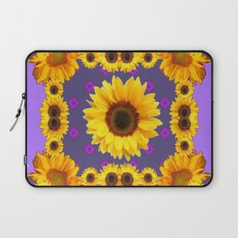 Golden Sunflowers Modern Art Purple Design Laptop Sleeve