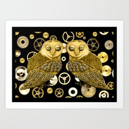 Cogs and Owls Art Print