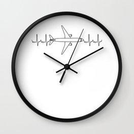 ECG Pilot Heartbeat Pulse Gift for Aviation & Aeroplane Lovers Wall Clock