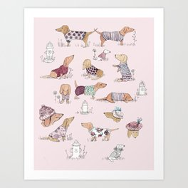 Dachshunds in Sweaters Art Print