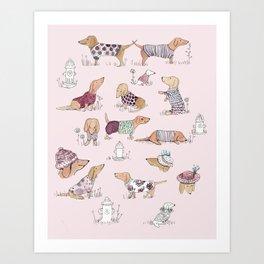 Dachshunds in Sweaters Art Print