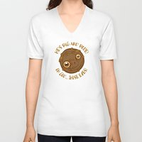 cookie monster V-neck T-shirts featuring Terrified Cookie by Artistic Dyslexia
