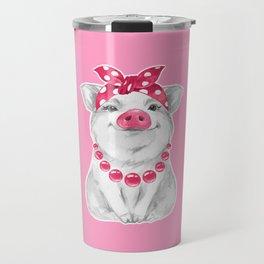 Funny pig wearing bandana Travel Mug