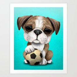 Cute British Bulldog Puppy With Football Soccer Ball Art Print