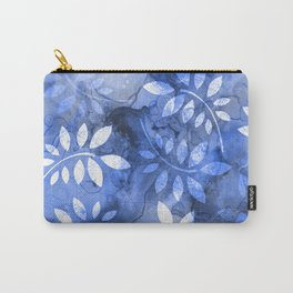 Blue and Gray Marble Leaf Carry-All Pouch