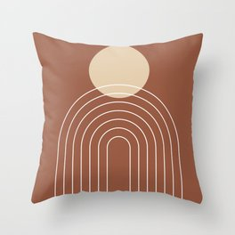 Mid Century Modern Geometric 3 (Terrocatta and beige) Throw Pillow