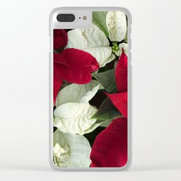 Red and White Christmas Poinsettias, Scanography Clear iPhone Case