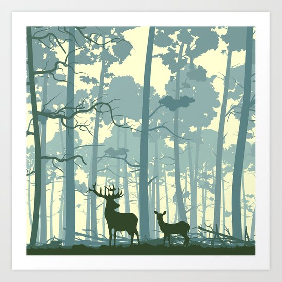 The Deers Art Print