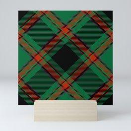 Green black red tartan Mini Art Print