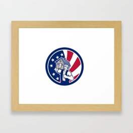 American House Removal USA Flag Icon Framed Art Print