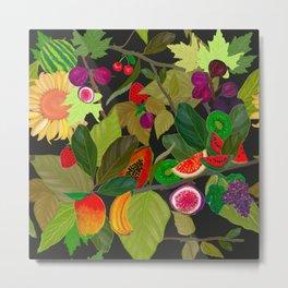 Gardener's Delight plum, fig tree and summer fruits pattern Metal Print