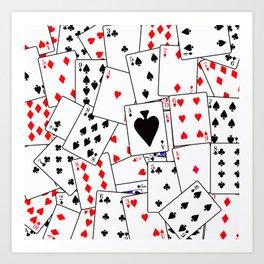 Random Playing Card Background Art Print