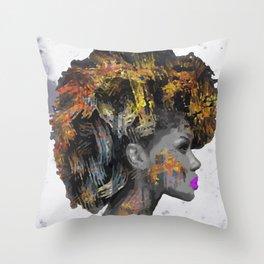 Afro-Girl Throw Pillow