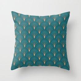 Vintage Art Deco Floral Copper & Teal Throw Pillow