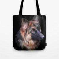 german shepherd Tote Bags featuring German Shepherd by Julie Hoddinott