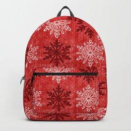 Velvety Red Christmas Snowflake Pattern Backpack