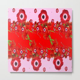 RED SPRING ANEMONE  GARDEN ABSTRACT FLORAL Metal Print