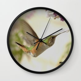 Ms. Hummingbird Checks Another Nectar Source Wall Clock