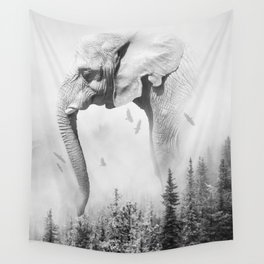 Elephant | Animal Photography | B&W | Nature | Fog | Wildlife | Abstract | Landscape Wall Tapestry