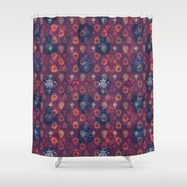 Lotus flower - orange and blue on mulberry woodblock print style pattern Shower Curtain