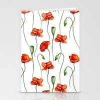 poppies Stationery Cards featuring Poppies by Julia Badeeva