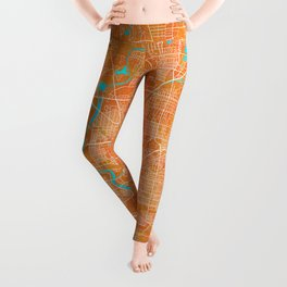 Indianapolis, IN, USA, Gold, Blue, City, Map Leggings