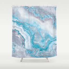 Ocean Foam Mermaid Marble Shower Curtain
