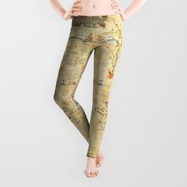 Fine Crafted Old Century Authentic Colorful Yellow Dusty Blues Greys Vintage Rug Pattern Leggings