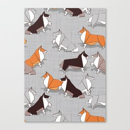 Origami Collie doggie friends Canvas Print