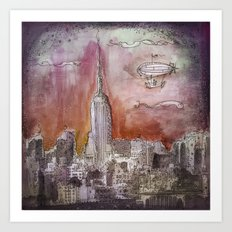 Boat over the City Art Print