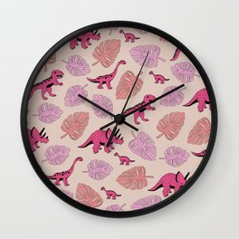 Dinosaur jungle illustration pattern hot pink girls Wall Clock