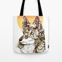 kitsune Tote Bags featuring Kitsune by South Spire Seven