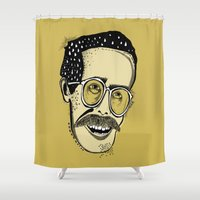 hobbes Shower Curtains featuring Bill by Sarah Mould