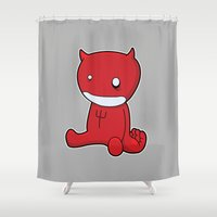 satan Shower Curtains featuring Satan as a child by barry thomson