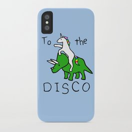 To The Disco (Unicorn Riding Triceratops) iPhone Case