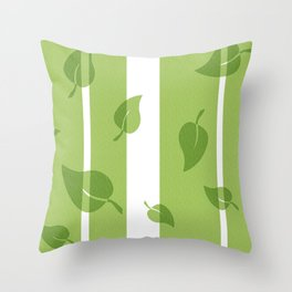 Scattered Green Leaves Throw Pillow