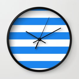 Horizontal Stripes - White and Dodger Blue Wall Clock