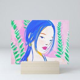 Girl and Aroid Palm Mini Art Print