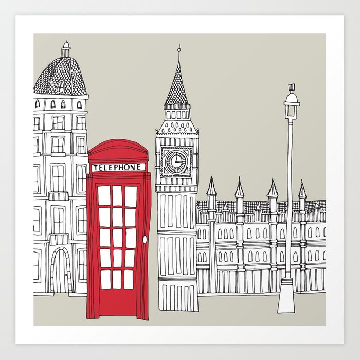 London Red Telephone Box Art Print