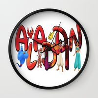 aladdin Wall Clocks featuring Aladdin  by Mix-Master