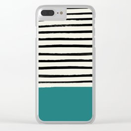 Teal x Stripes Clear iPhone Case