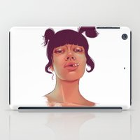 cigarette iPad Cases featuring Girl cigarette by Danit Rotart