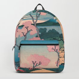 Spring Picnic under Cherry Tree Flowers, with Mount Fuji background Backpack