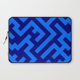Brandeis Blue and Navy Blue Diagonal Labyrinth Laptop Sleeve